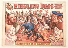 1960 Ringling Bros. Army of 50 Clowns Poster