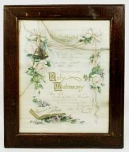 1920 Framed Bay City Michigan Marriage Certificate