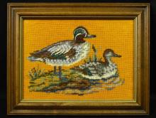 Embroidered Framed Duck Picture