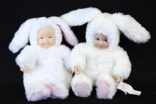 2 Baby Bunnies by Anne Geddes - Bean Filled