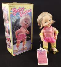 Vintage Mattel Baby Skates Wind Up Doll
