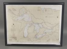 United States NOAA Great Lakes Framed Map