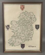 Aer Lingus Framed Ireland Map