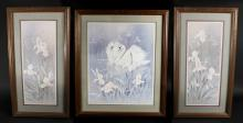 Tryptic Pastel Floral Swan Framed Prints