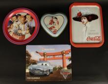 2 Coca Cola Trays, Tin & State Farm Cars Tin Sign