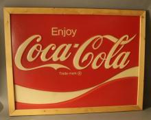 Enjoy Coca Cola - Framed Plastic Sign - Nice!