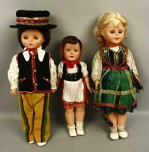 3 Antique Plastic Dolls Various Countries