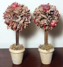 Two Pomegranate Topiary Decorations - Home Decor