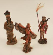 3 Collectible Resin Native American Statues