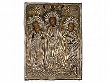 SILVER OKHLAD ICON OF THREE SAINTS
