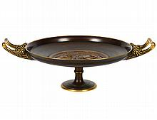 NEO-CLASSICAL PATINATED AND GILT BRONZE TAZZA