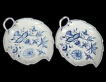 TWO MEISSEN PORCELAIN LEAF SHAPED DISHES