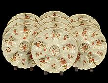 SET OF TEN PORCELAIN OYSTER PLATES