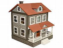 SCHOENHUT TWO STORY GRAY BRICK DOLL HOUSE