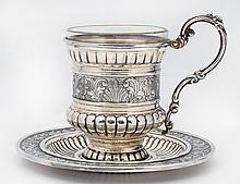 STERLING SILVER CUP AND SAUCER