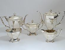 FIVE PIECE SILVER PLATED TEA AND COFFEE SERVICE