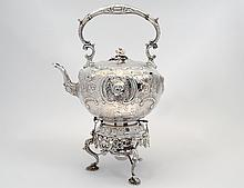 VICTORIAN SILVER PLATED TILTING HOT WATER KETTLE AND STAND