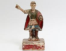 CARVED AND POLYCHROMED FIGURE OF ST. MICHAEL