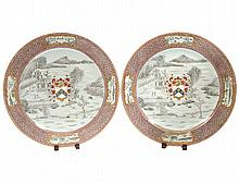 PAIR OF EXPORT STYLE PORCELAIN CHARGERS