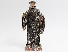 CARVED AND POLYCHROMED FIGURE OF A SAINT
