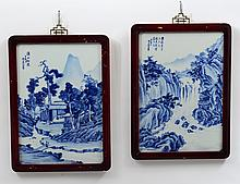 PAIR OF BLUE AND WHITE PORCELAIN PLAQUES