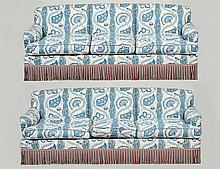 PAIR OF BLUE AND WHITE UPHOLSTERED SOFAS