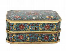 GILT BRONZE AND CLOISONNE ENAMEL INK BOX AND COVER