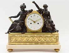 LOUIS XVI PATINATED AND BRONZE DORE MANTEL CLOCK