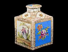 DRESDEN PORCELAIN TEA CADDY AND COVER