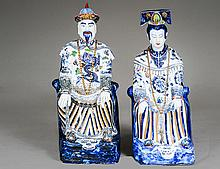 PAIR OF BLUE AND WHITE PORCELAIN FIGURES