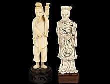 TWO CARVED IVORY FIGURES