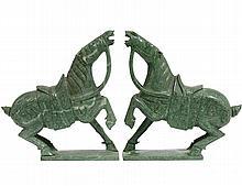 PAIR OF HONAN JADE MING STYLE SADDLED HORSES