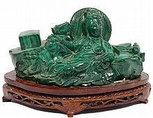 CARVED MALACHITE FIGURE OF GUANYIN