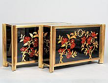 PAIR OF MASTERCRAFT BRASS AND LACQUERED SIDE CABINETS