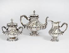 THREE PIECE CONTINENTAL SILVER TEA SERVICE