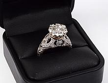 PLATINUM AND DIAMOND VINTAGE STYLE RING