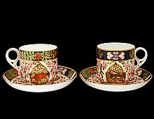FOUR ROYAL CROWN DERBY PORCELAIN CUPS AND SAUCERS