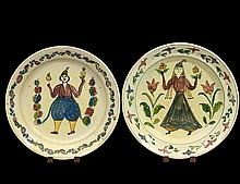 PAIR OF GLAZED POTTERY CHARGERS