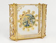 LE COULTRE BRASS AND GLASS CASED CLOCK