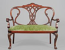 QUEEN ANNE STYLE FRUITWOOD LOVE SEAT