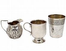 THREE SILVER AND SILVER PLATED ARTICLES