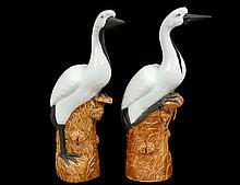 PAIR OF GLAZED POTTERY BIRDS