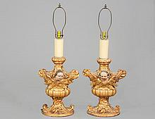 PAIR OF CARVED, PAINTED AND GILTWOOD CANDLE HOLDERS