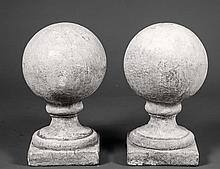 PAIR OF CAST STONE SPHERES