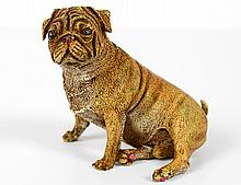 BERGMAN VIENNA COLD PAINTED BRONZE SITTING BULLDOG