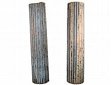 PAIR OF LARGE PAINTED WOOD COLUMNS