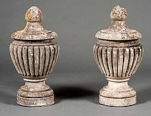 PAIR OF CAST STONE GARDEN URNS