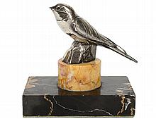ART DECO STYLE SILVERED BRONZE BIRD