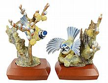 PAIR OF DOROTHY DOUGHTY PORCELAIN BLUE TIT AND PUSSY WILLOW