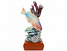 ROYAL WORCESTER PORCELAIN RAINBOW PARROTFISH